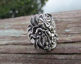 Vintage Sterling Silver Art Nouveau Flower Ring