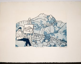 "Original Limited Edition Intaglio etched by Julian Trevelyan  entitled ""Aix-En-Provence"""