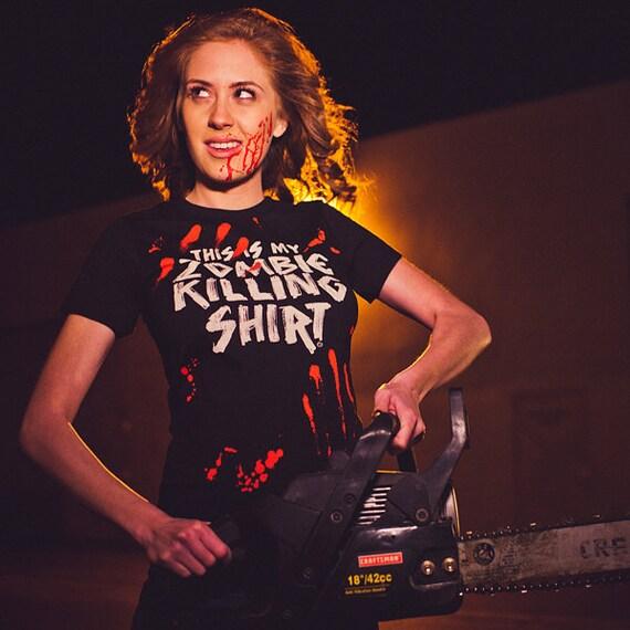 Zombie Killer (GT1350-102BLK) Women's T-Shirt. Zombies, costume, halloween, blood, kill, funny t-shirts, dead, undead, apocalypse, horror.
