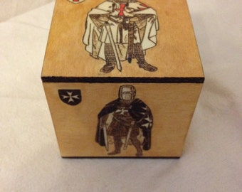 Pine wooden box, pyrography, Templar orders.