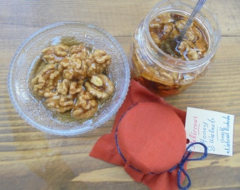 Flower and Thyme Honey with Fresh Raw Walnuts nuts (11.2oz-320gr) All Greek Natural  Product.Gourmet Food, Healthy,Energy Food!