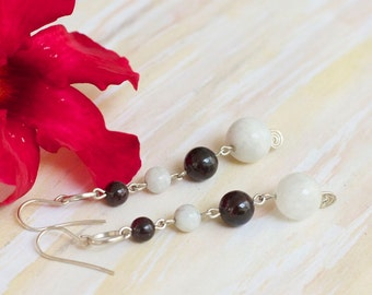 Long moonstone and garnet sterling silver dangle earrings* Handmade gemstone earrings* Natural stones.
