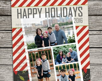 Red stripe | custom holiday photo card, picture card greeting - DIY Printable Digital File