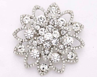 Crystal Silver Wedding Brooch Bridal Bridesmaid Dress Brooches Bling Cake Decor Necklace DIY Jewelry Crystal Broaches