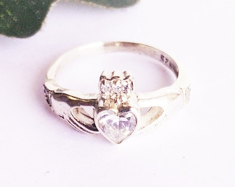 Attractive Heart Shape WHITE TOPAZ Gemstone Ring, Birthstone Ring, 925 Sterling Silver Ring, Fashion Handmade Ring, All Size, Gift Ring