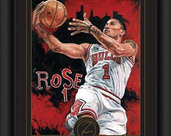 Derrick Rose Framed Justyn Farano Digital Print - Chicago Bulls