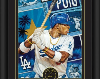 Yasiel Puig Framed Justyn Farano Digital Print - Los Angeles Dodgers