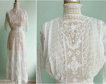 Vintage Edwardian 1910s Eyelet Lace Dress | Size Small/Medium