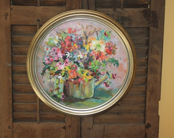 "Irma Shapiro's ""Spring Flowers"" original acrylic on gesso'd cardboard, 16"" round"