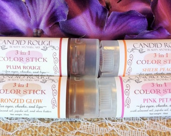 3 in 1 Color Stick, Cream Blush, Natural Cheek Color, Mineral Makeup - Candid Rouge