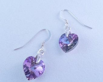 Swarovski Crystal Earrings / Vitrail Earrings / Purple Earrings / Large Swarovski Crystal Heart Earrings / 10mm / Sterling Silver