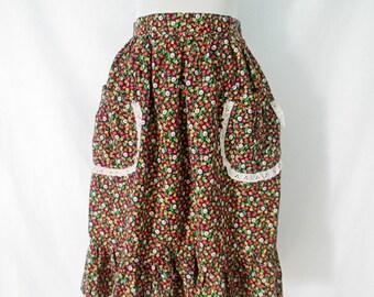 1970's Skirt Vintage Skirt Calico Floral Retro Boho Hippie Western Eyelet Ruffled Pockets