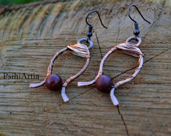Copper earrings Copper jewelry Wire wrapped earrings Handmade earrings Copper wire earrings Copper wire jewelry Gemstone earrings