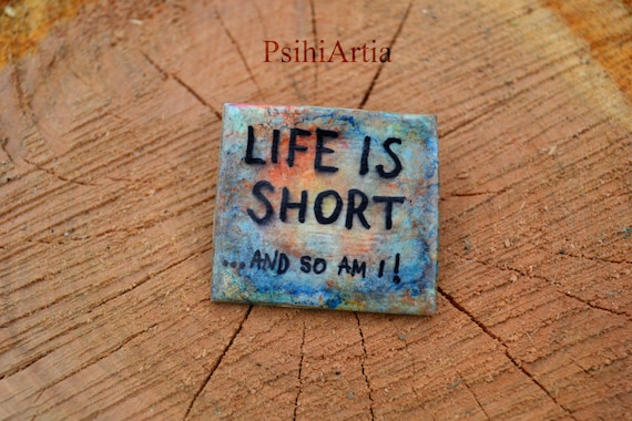 Quote brooch Dye brooch Handmade brooch Polymer clay brooch Square shaped brooch Text brooch Colorful brooch