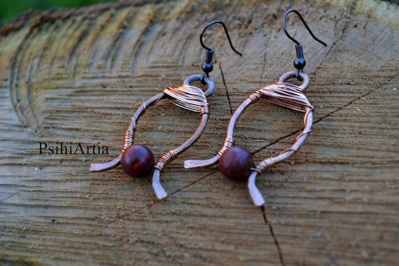 Copper earrings Copper jewelry Wire wrapped earrings Handmade earrings Copper wire earrings Copper wire jewelry Gemstone earrings