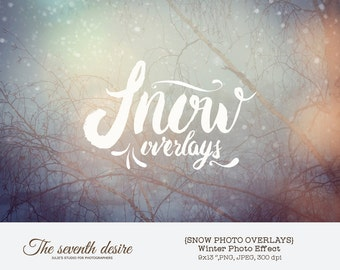 Snow Photo Overlays - Christmas Photo Overlays - Photography Overlays - Instant Download