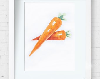 Original Carrot Watercolor Painting/Chinese ink painting–Vegetables Watercolor Abstract art Painting,8X10inch Wall Decor Home Decor