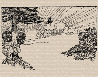 Sunrise Clip Art Vintage Image – 1909 illustration of sunrise over a meadow – printable graphic – digital stamp - commercial use OK