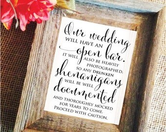 Wedding open Bar Sign Open Bar Wedding Sign bar signage (Stylish) (Frame NOT included)