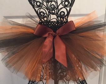 Fall tutu skirt Brown Black Orange tulle Halloween costume girls and women's sizes