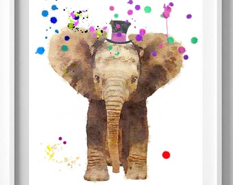 Elephant Print, Woodlands Nursery Wall Art, home Decor, Kids Room Poster, Forest Animal, Pic. No. 14