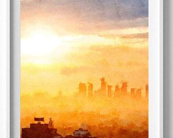 Los Angeles Print, Los Angeles Skyline, Painting,wall art,home decor Pic no 4