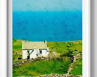 Ireland print,seaside,painting,watercolor,wall art,Pic no 10