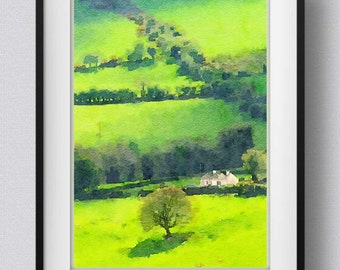 Ireland print,Tipperary,Irish countryside painting,watercolor,art print,wall hanging,Pic no 9