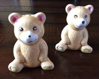 Ceramic Teddy Bear Salt and Pepper Shakers