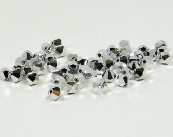 4mm Bicone Crystals, Silver, Crystal Labrador, 25 count