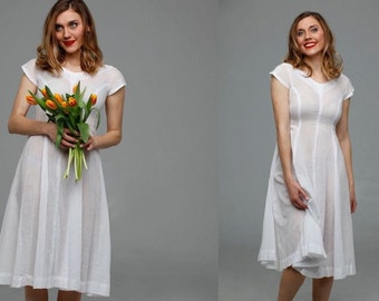Vintage 1950s dress | white cotton summer 50s dress • Savannah dress