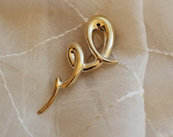 Vintage Sterling Silver Squiggle Pin Brooch