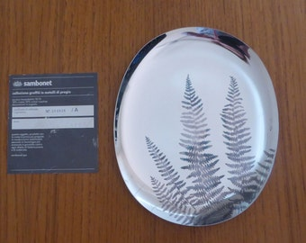 Sambonet Italy dish 1982 with burnished leaf design - great condition!!