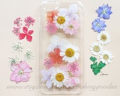 iPhone 6 Case, iPhone 5s Case, Samsung Galaxy S7 Case, iPhone 6s Case, Samsung Galaxy S6 Case Floral, iPhone SE Case Clear, Pressed Flower