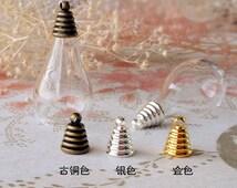 4 set 18x25mm Transparent Glass Wishing Bottle Pendant with Antiqued Bronze/silver/gold Color Caps