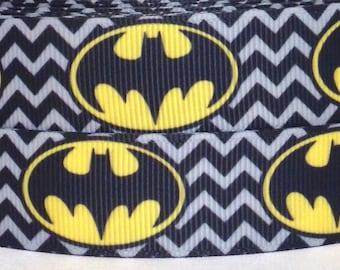 "Batman Grosgrain Ribbon - Super Hero Ribbon 3 yards - 3 yards Batman Grosgrain Ribbon - 7/8"" Chevron Batman Grosgrain Ribbon - Batman Ribbon"