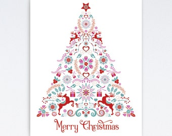 Merry Christmas Printable | Merry Christmas Print | Christmas Tree Print | Christmas Wall Art
