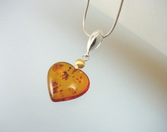 Baltic Amber Heart Pendant Necklace -  Sterling Silver and Vermeil with Natural Amber Jewelry