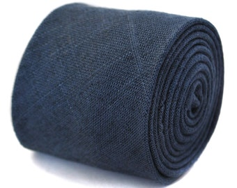 navy blue linen tie by Frederick Thomas FT2040