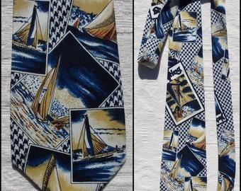 "Vtg mans sailing yacht boats pattern neck tie 70s wide tie 4"" wide"