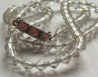 Vintage Clear Glass Diamond Shape Faceted Bead Choker Necklace/Rhinestone Box Clasp/1960s