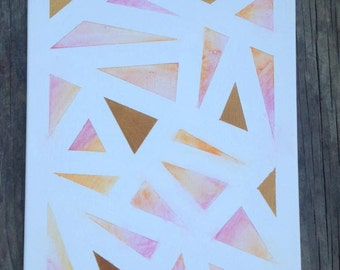 watercolor triangle canvas painting