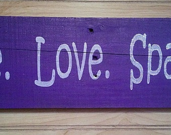 "Handmade ""Live, Love, Sparkle"" Reclaimed Wood Sign with Hanger"
