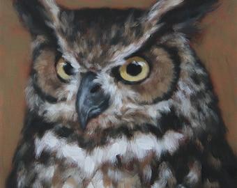 Great Horned Owl/ Original Oil Painting / Sarah Becktel