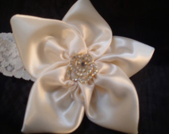 Creamy colored satin ribbon with rhinstone button accent 0-3months baby girl headband