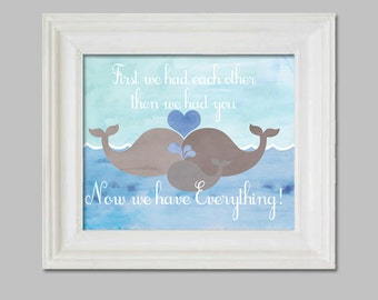 "Nautical Nursery wheal, 14X11 water color art print, ""First we had each other, then we had you, now we have everything"""