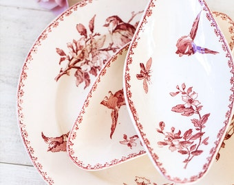Early 1900s French Ironstone Dishes Set of 3 - Sarreguemines Favori - Red / Pink Transferware - Free Shipping Within the USA