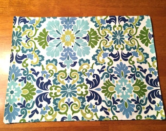 Blue Green Flowers Placemats set 4~ Blue green white Placemats ~ Green blue Placemats