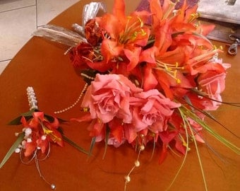 Brides Bouquet and Grooms Boutonnieres