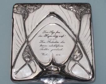 Large Kayserzinn Art Nouveau silver plated casket casket Friedrick Adler